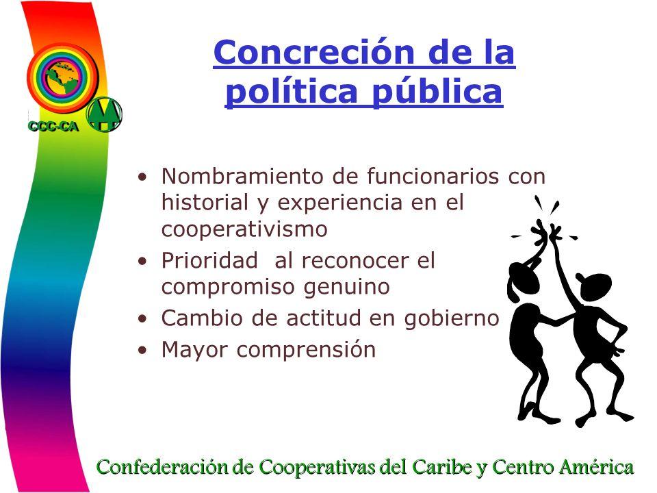 Confederación de Cooperativas del Caribe y Centro América Concreción de la política pública Nombramiento de funcionarios con historial y experiencia e