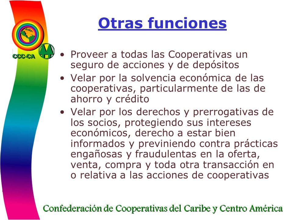 Confederación de Cooperativas del Caribe y Centro América Otras funciones Proveer a todas las Cooperativas un seguro de acciones y de depósitos Velar
