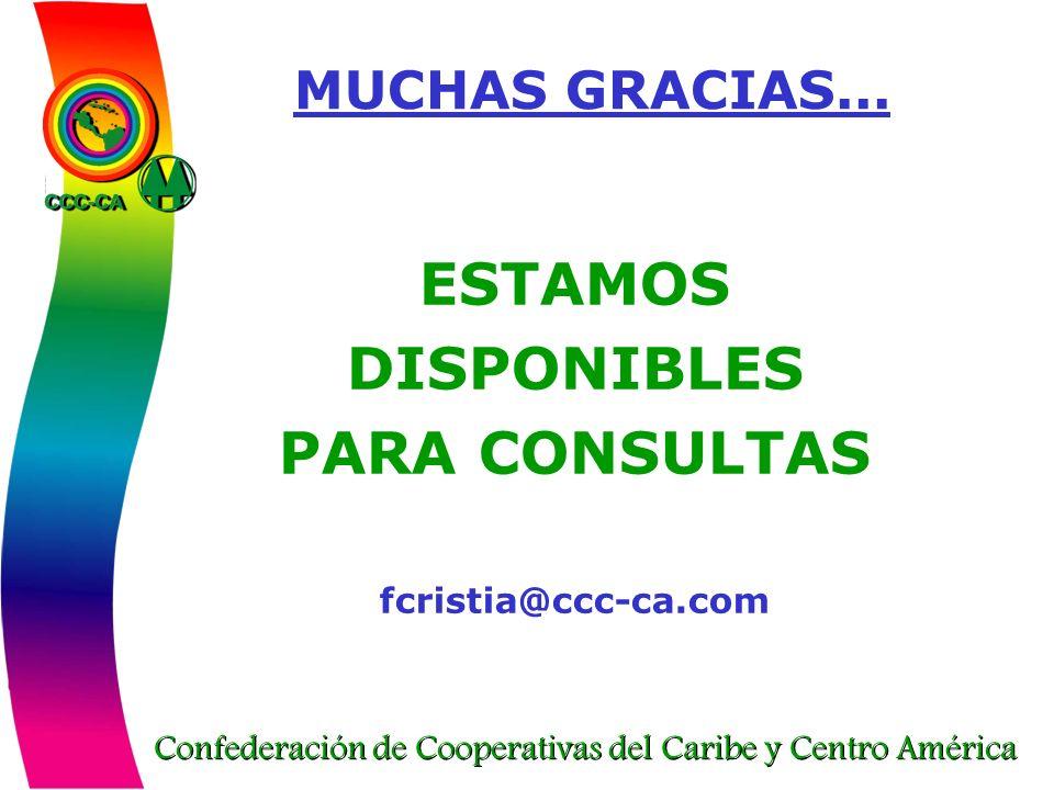 Confederación de Cooperativas del Caribe y Centro América MUCHAS GRACIAS... ESTAMOS DISPONIBLES PARA CONSULTAS fcristia@ccc-ca.com