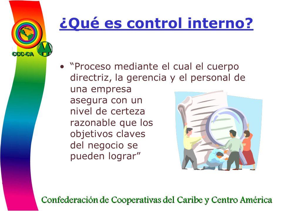 Confederación de Cooperativas del Caribe y Centro América ¿Qué es control interno? Proceso mediante el cual el cuerpo directriz, la gerencia y el pers