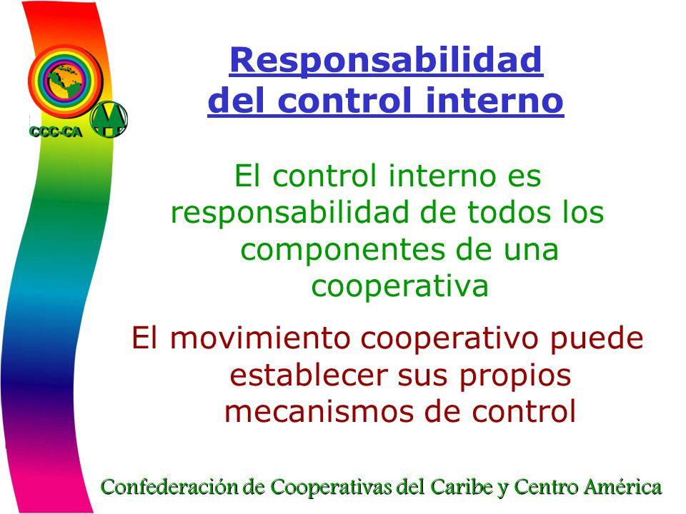 Confederación de Cooperativas del Caribe y Centro América Responsabilidad del control interno El control interno es responsabilidad de todos los compo