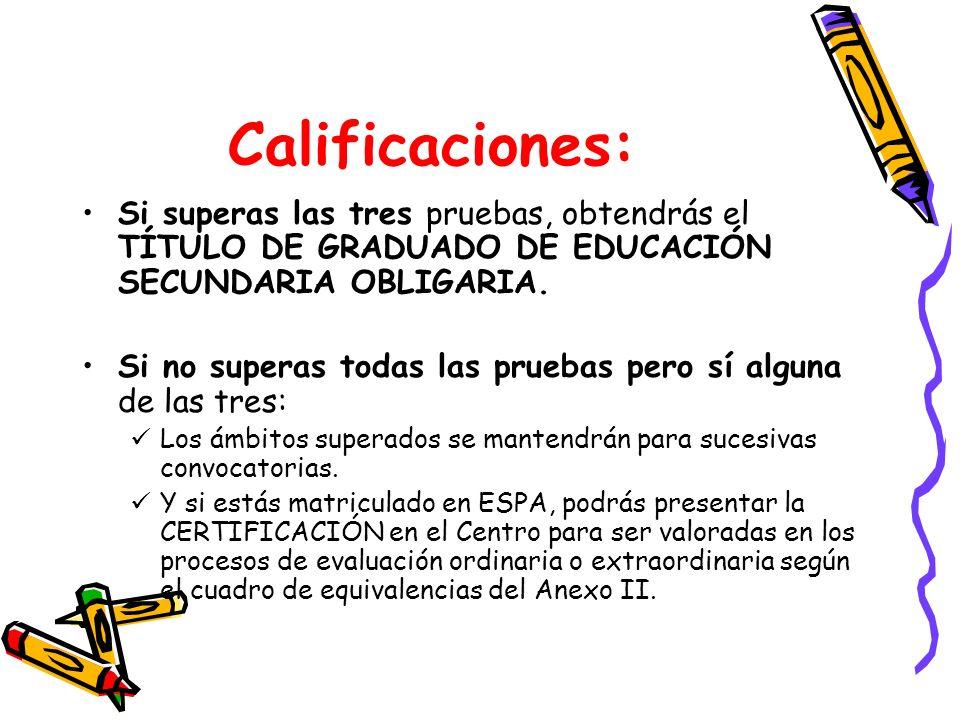 Calificaciones: Si superas las tres pruebas, obtendrás el TÍTULO DE GRADUADO DE EDUCACIÓN SECUNDARIA OBLIGARIA. Si no superas todas las pruebas pero s