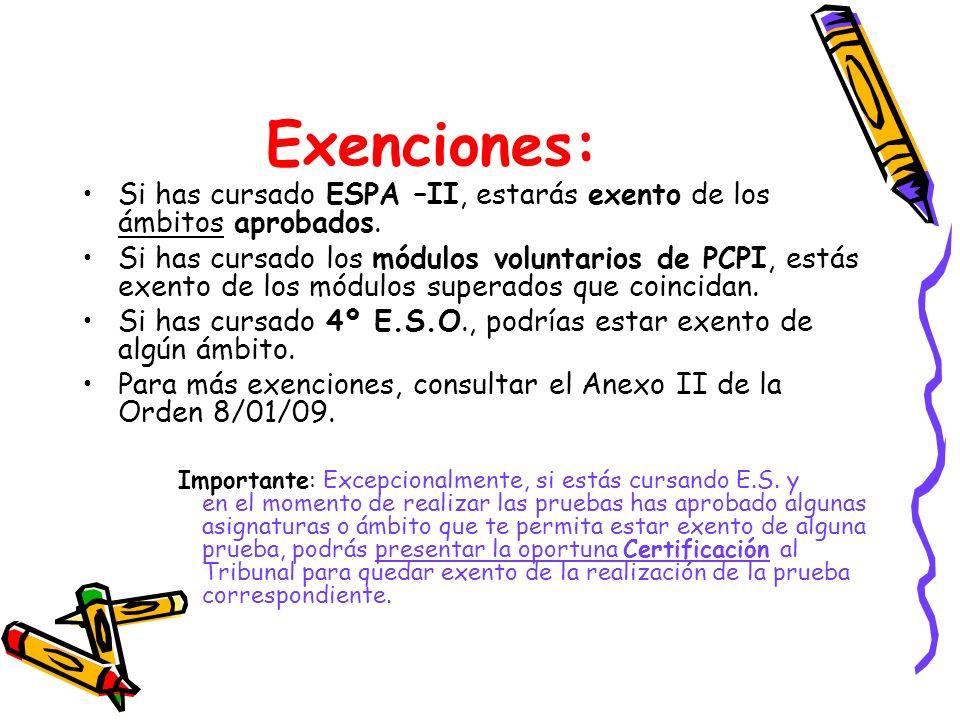 Exenciones: Si has cursado ESPA –II, estarás exento de los ámbitos aprobados. Si has cursado los módulos voluntarios de PCPI, estás exento de los módu