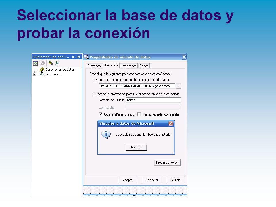 Seleccionar la base de datos y probar la conexión