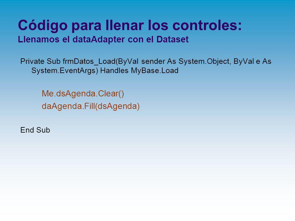 Código para llenar los controles: Llenamos el dataAdapter con el Dataset Private Sub frmDatos_Load(ByVal sender As System.Object, ByVal e As System.Ev