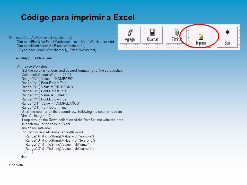 Código para imprimir a Excel Dim excelApp As New excel.Application() Dim excelBook As Excel.Workbook = excelApp.Workbooks.Add Dim excelWorksheet As Ex