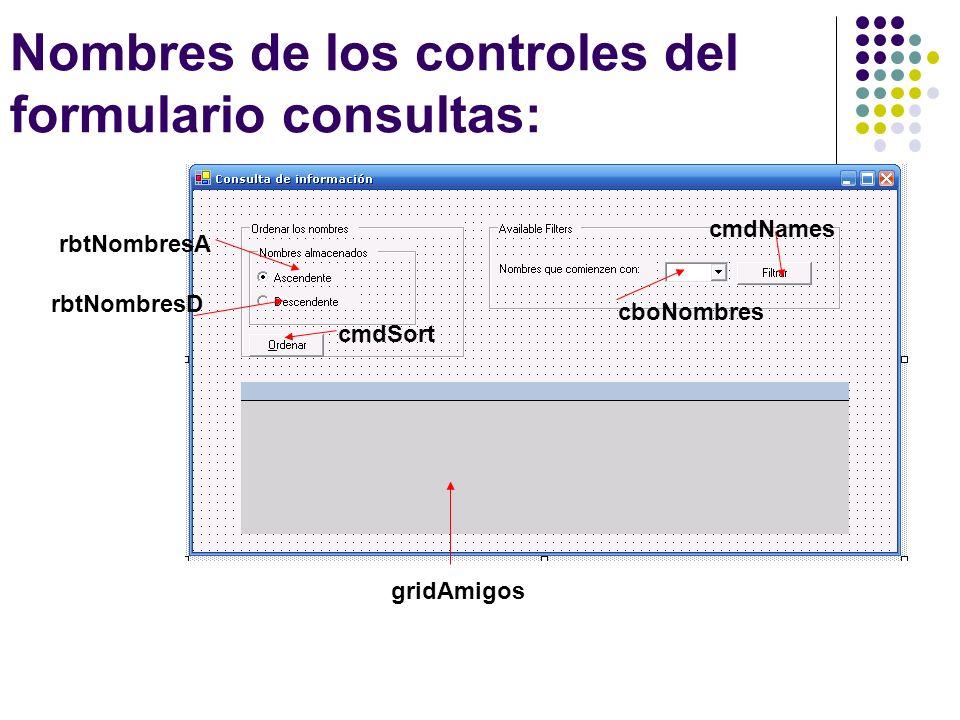 Nombres de los controles del formulario consultas: cboNombres rbtNombresA rbtNombresD cmdSort gridAmigos cmdNames
