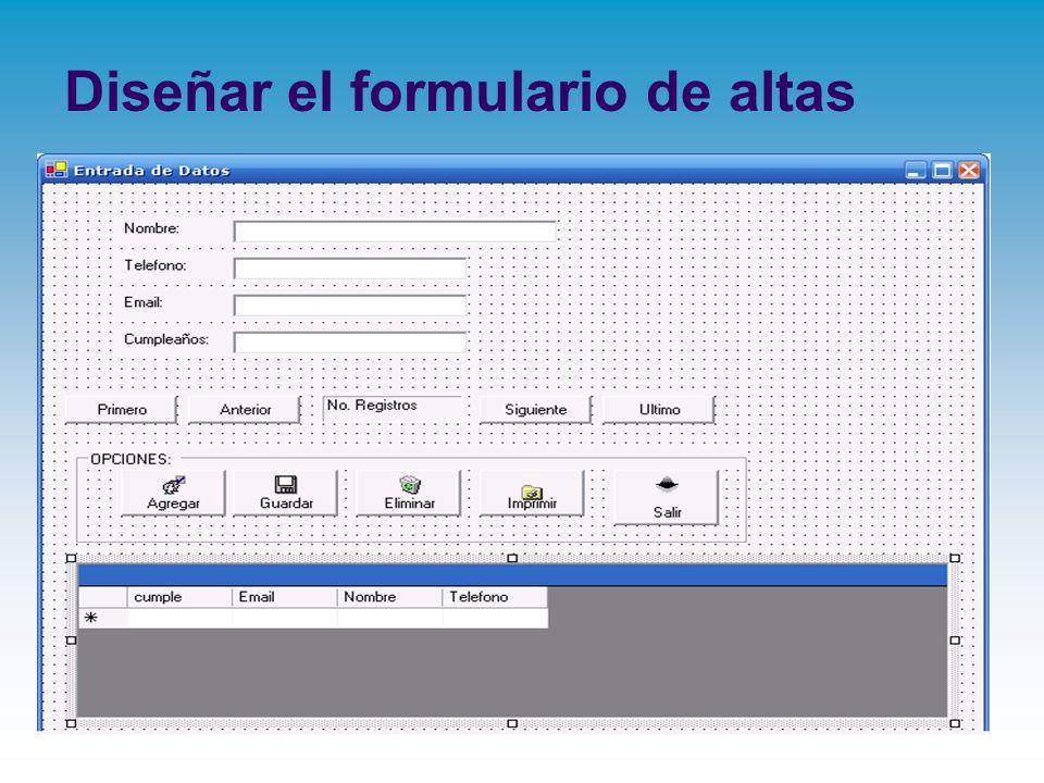 Diseñar el formulario de altas