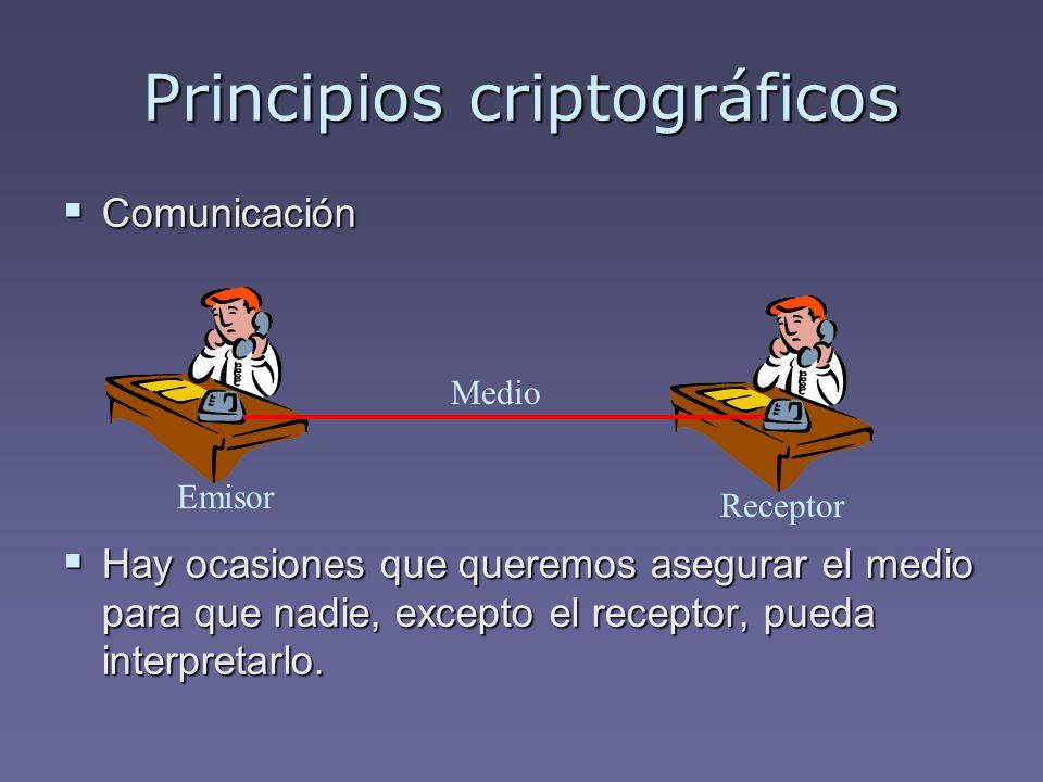 Principios criptográficos Comunicación Comunicación Hay ocasiones que queremos asegurar el medio para que nadie, excepto el receptor, pueda interpreta