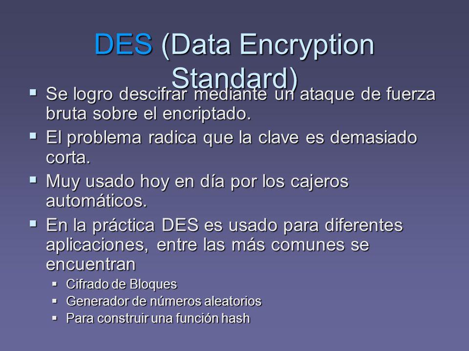 DES (Data Encryption Standard) Se logro descifrar mediante un ataque de fuerza bruta sobre el encriptado. Se logro descifrar mediante un ataque de fue