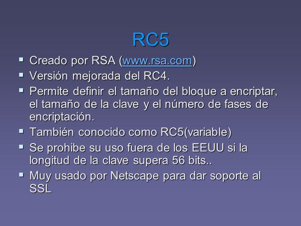 RC5 Creado por RSA (www.rsa.com) Creado por RSA (www.rsa.com)www.rsa.com Versión mejorada del RC4. Versión mejorada del RC4. Permite definir el tamaño
