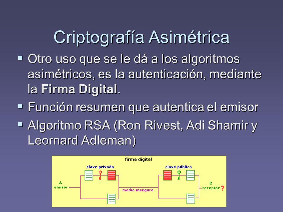 Criptografía Asimétrica Otro uso que se le dá a los algoritmos asimétricos, es la autenticación, mediante la Firma Digital. Otro uso que se le dá a lo
