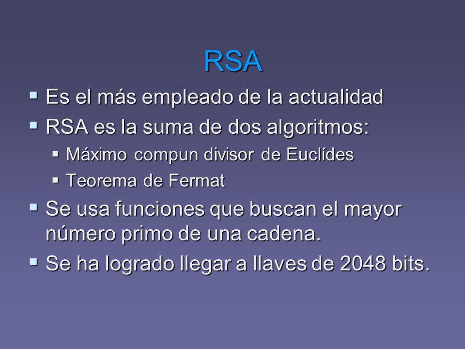 RSA Es el más empleado de la actualidad Es el más empleado de la actualidad RSA es la suma de dos algoritmos: RSA es la suma de dos algoritmos: Máximo