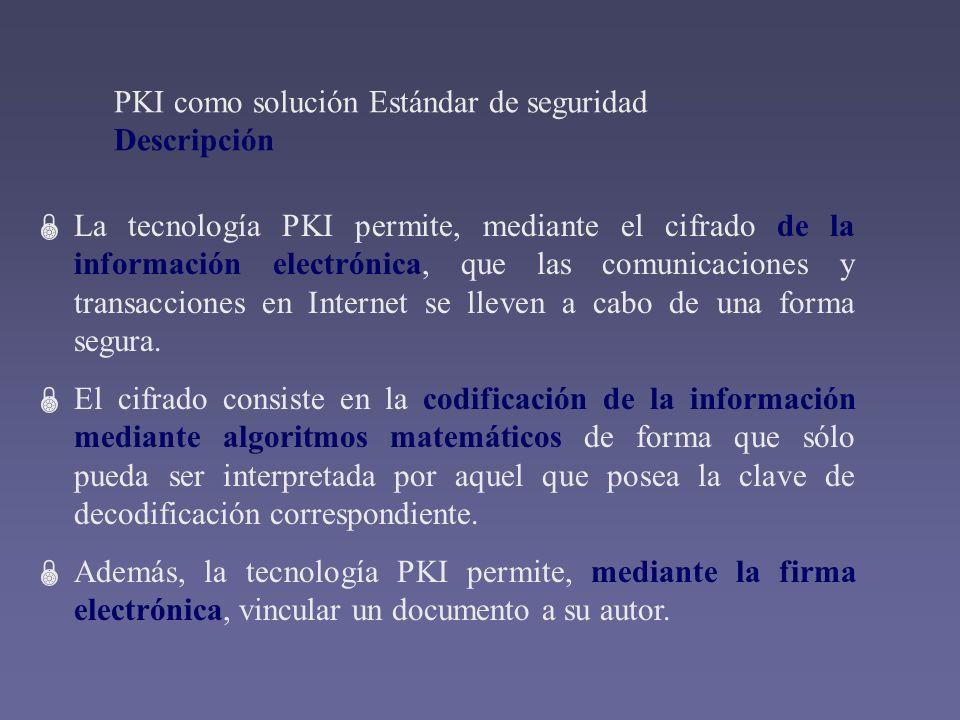 La tecnología PKI permite, mediante el cifrado de la información electrónica, que las comunicaciones y transacciones en Internet se lleven a cabo de u