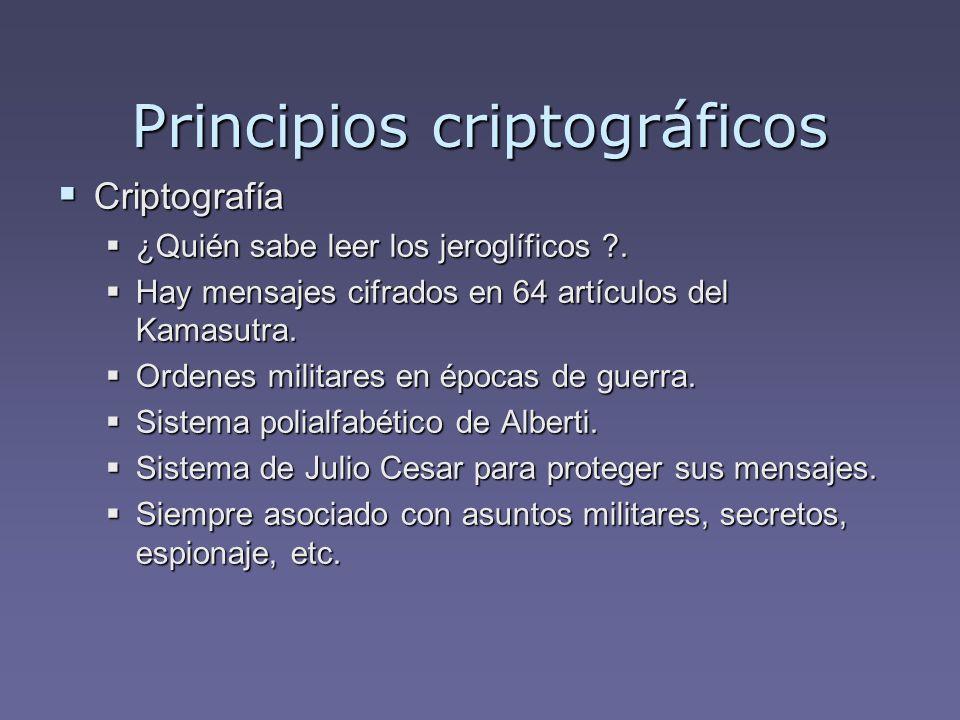 Principios criptográficos Criptografía Criptografía ¿Quién sabe leer los jeroglíficos ?. ¿Quién sabe leer los jeroglíficos ?. Hay mensajes cifrados en