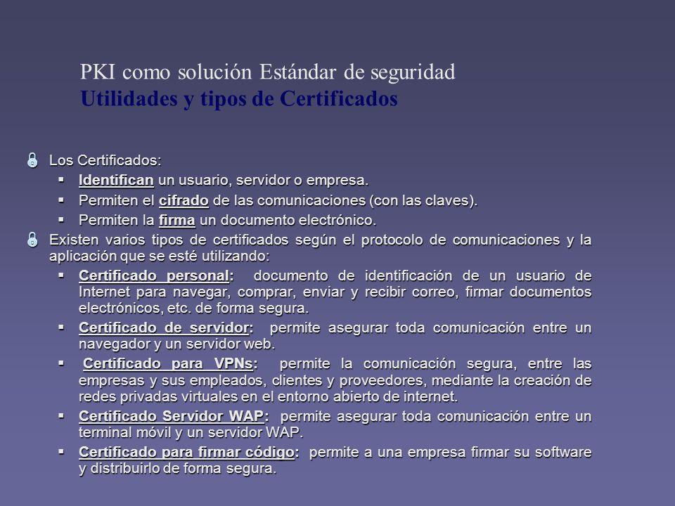 Los Certificados: Los Certificados: Identifican un usuario, servidor o empresa. Identifican un usuario, servidor o empresa. Permiten el cifrado de las