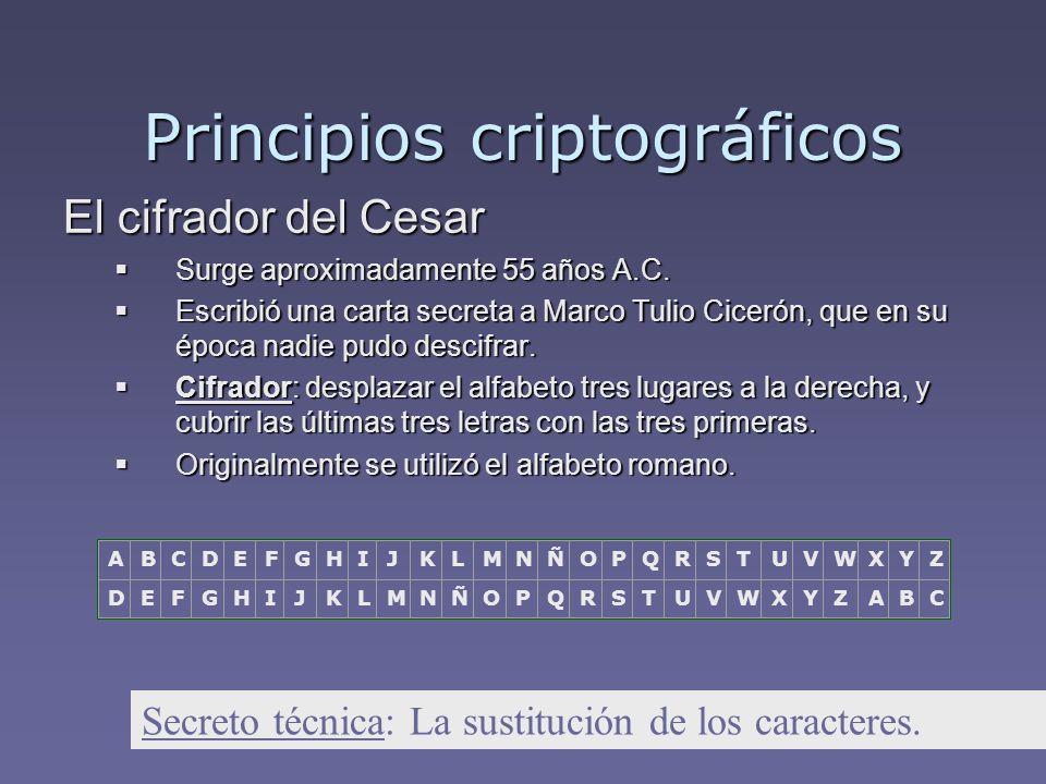 El cifrador del Cesar Surge aproximadamente 55 años A.C. Surge aproximadamente 55 años A.C. Escribió una carta secreta a Marco Tulio Cicerón, que en s