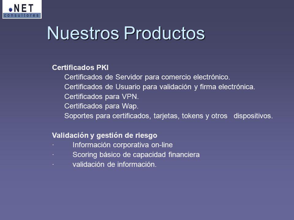 Nuestros Productos Certificados PKI Certificados de Servidor para comercio electrónico. Certificados de Usuario para validación y firma electrónica. C