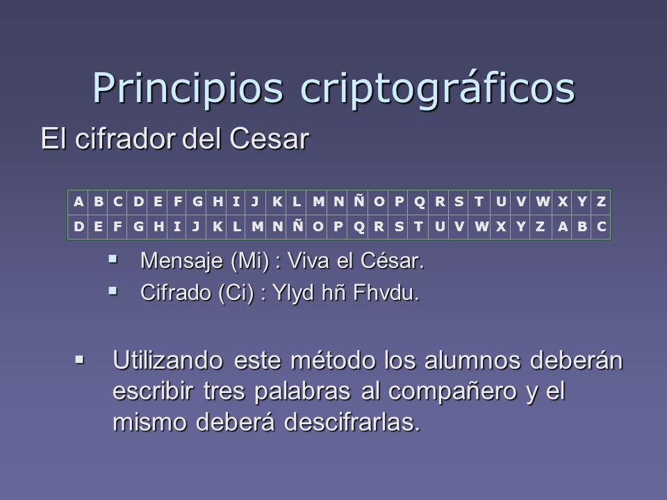 Criptografía Asimétrica Características: Características: Ideado por Diffie-Hellman (Matemáticos) Ideado por Diffie-Hellman (Matemáticos) Simétrico clave segura 128 bits.