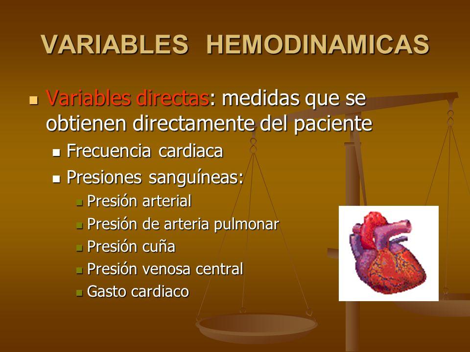 VARIABLES HEMODINAMICAS Variables directas: medidas que se obtienen directamente del paciente Variables directas: medidas que se obtienen directamente