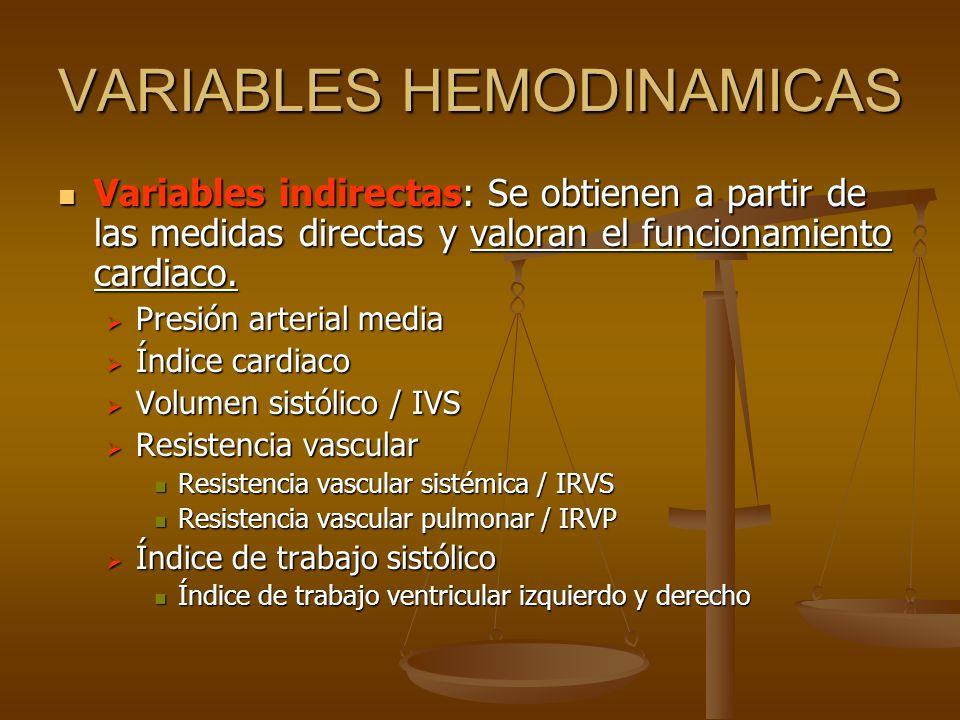 Variables indirectas: Se obtienen a partir de las medidas directas y valoran el funcionamiento cardiaco. Variables indirectas: Se obtienen a partir de