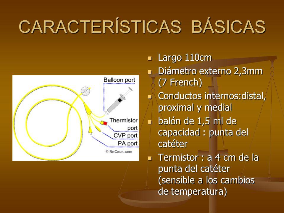 CARACTERÍSTICAS BÁSICAS Largo 110cm Diámetro externo 2,3mm (7 French) Conductos internos:distal, proximal y medial balón de 1,5 ml de capacidad : punt