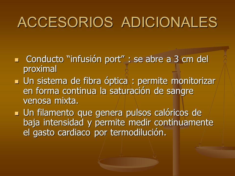 ACCESORIOS ADICIONALES Conducto infusión port : se abre a 3 cm del proximal Conducto infusión port : se abre a 3 cm del proximal Un sistema de fibra ó