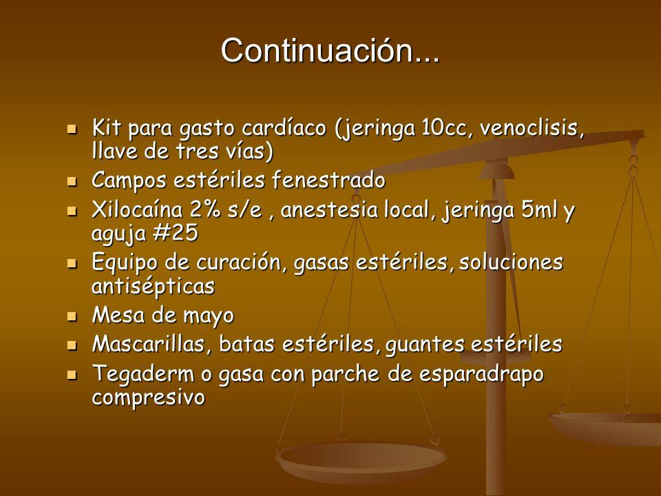 Continuación... Kit para gasto cardíaco (jeringa 10cc, venoclisis, llave de tres vías) Kit para gasto cardíaco (jeringa 10cc, venoclisis, llave de tre
