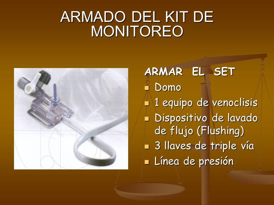 ARMADO DEL KIT DE MONITOREO ARMAR EL SET Domo 1 equipo de venoclisis Dispositivo de lavado de flujo (Flushing) 3 llaves de triple vía Línea de presión
