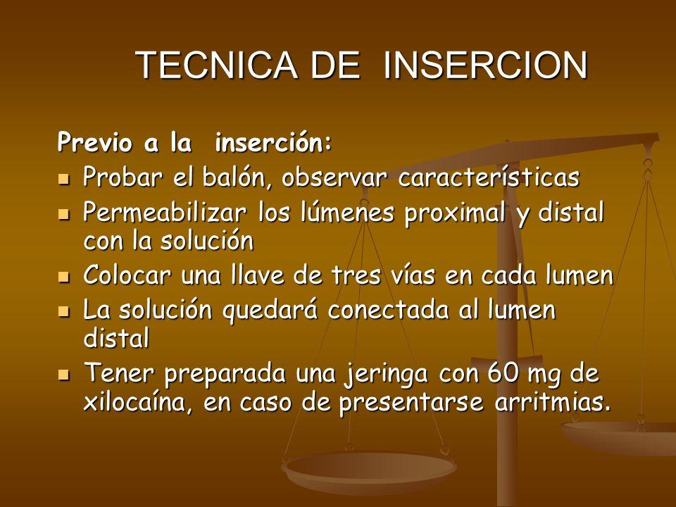 TECNICA DE INSERCION Previo a la inserción: Probar el balón, observar características Probar el balón, observar características Permeabilizar los lúme