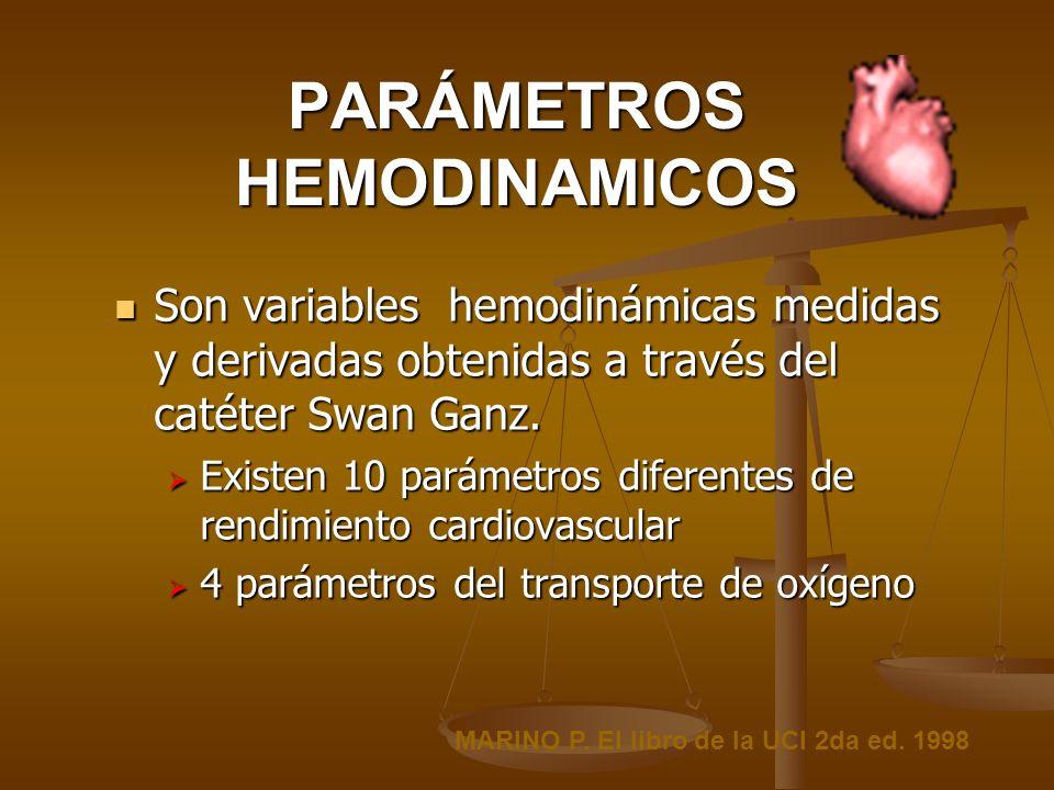 PARÁMETROS HEMODINAMICOS Son variables hemodinámicas medidas y derivadas obtenidas a través del catéter Swan Ganz. Son variables hemodinámicas medidas