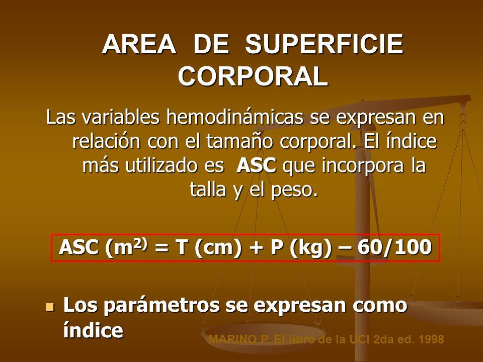 AREA DE SUPERFICIE CORPORAL Las variables hemodinámicas se expresan en relación con el tamaño corporal. El índice más utilizado es ASC que incorpora l