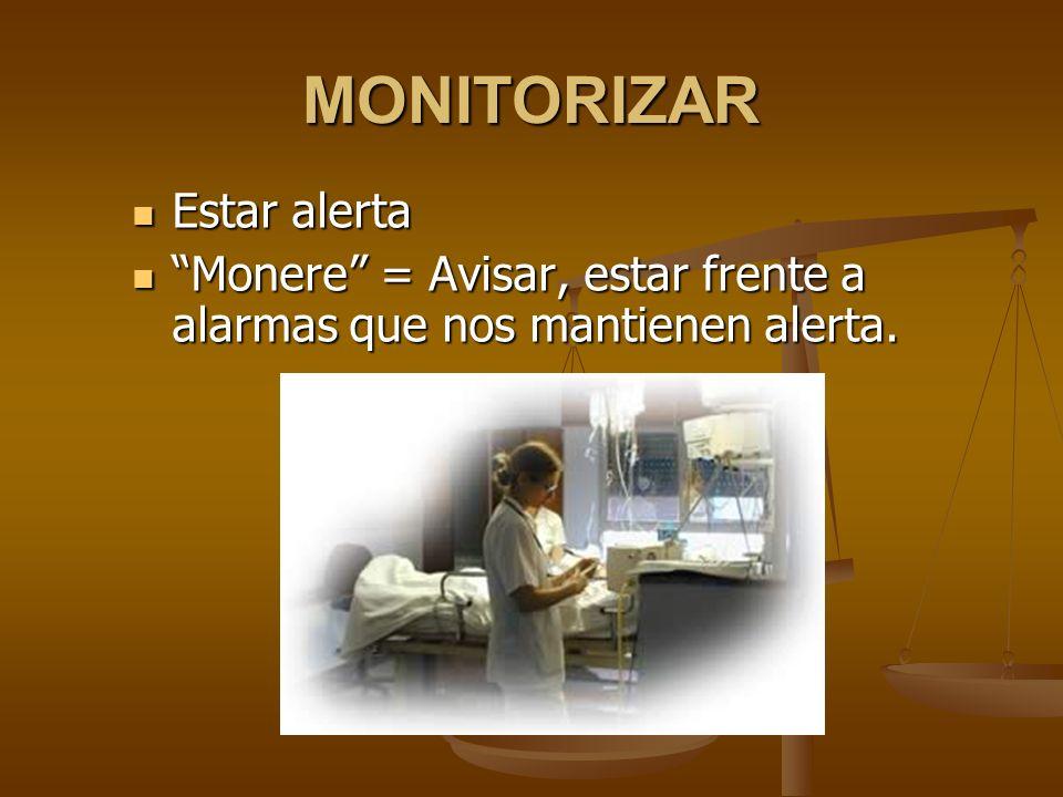 MONITORIZAR Estar alerta Estar alerta Monere = Avisar, estar frente a alarmas que nos mantienen alerta. Monere = Avisar, estar frente a alarmas que no