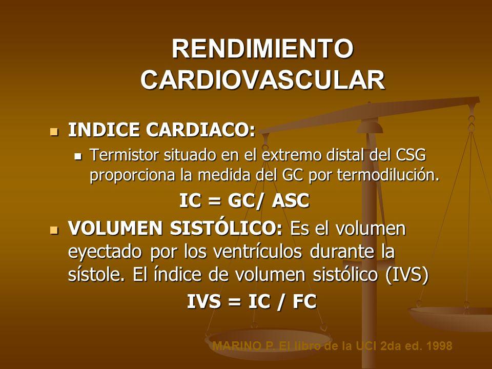 RENDIMIENTO CARDIOVASCULAR INDICE CARDIACO: INDICE CARDIACO: Termistor situado en el extremo distal del CSG proporciona la medida del GC por termodilu