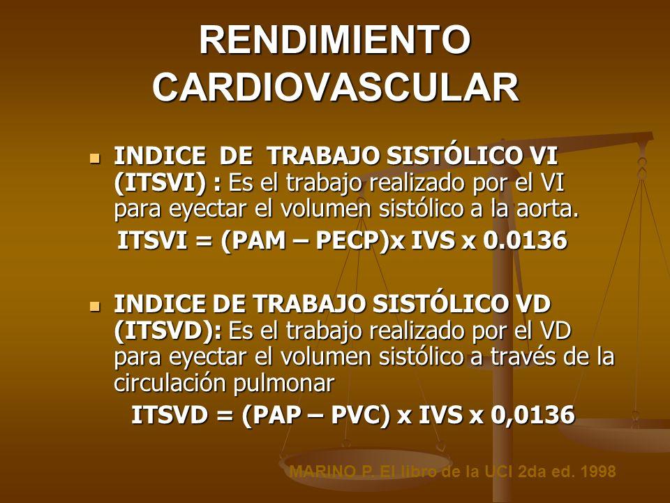 RENDIMIENTO CARDIOVASCULAR INDICE DE TRABAJO SISTÓLICO VI (ITSVI) : Es el trabajo realizado por el VI para eyectar el volumen sistólico a la aorta. IN