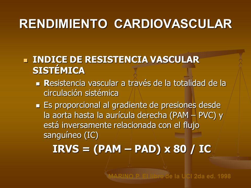RENDIMIENTO CARDIOVASCULAR INDICE DE RESISTENCIA VASCULAR SISTÉMICA INDICE DE RESISTENCIA VASCULAR SISTÉMICA Resistencia vascular a través de la total
