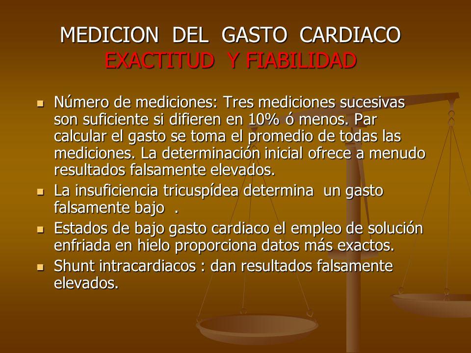 MEDICION DEL GASTO CARDIACO EXACTITUD Y FIABILIDAD Número de mediciones: Tres mediciones sucesivas son suficiente si difieren en 10% ó menos. Par calc