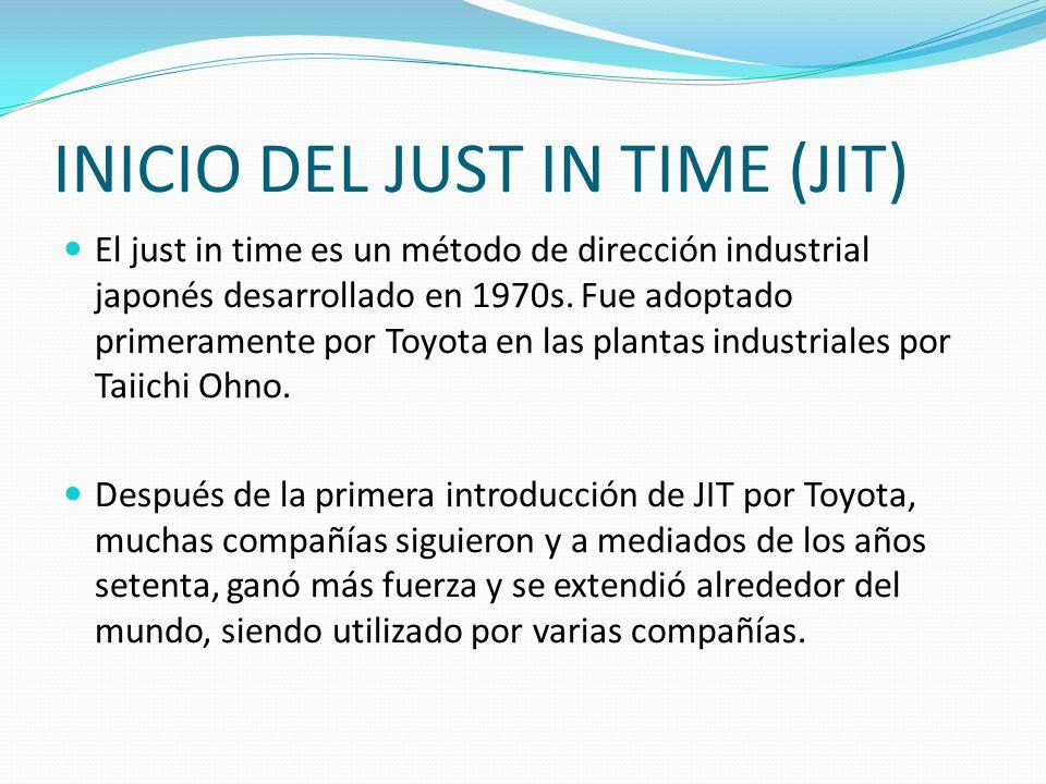 INICIO DEL JUST IN TIME (JIT) El just in time es un método de dirección industrial japonés desarrollado en 1970s. Fue adoptado primeramente por Toyota