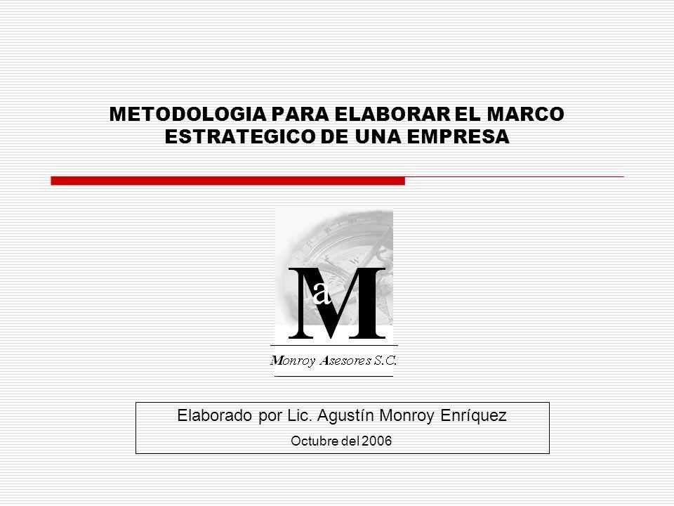 METODOLOGIA PARA ELABORAR EL MARCO ESTRATEGICO DE UNA EMPRESA Elaborado por Lic. Agustín Monroy Enríquez Octubre del 2006