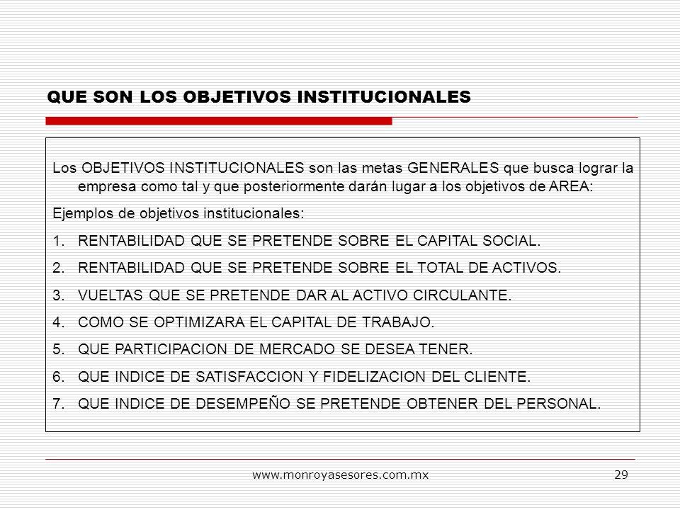 www.monroyasesores.com.mx29 QUE SON LOS OBJETIVOS INSTITUCIONALES Los OBJETIVOS INSTITUCIONALES son las metas GENERALES que busca lograr la empresa co