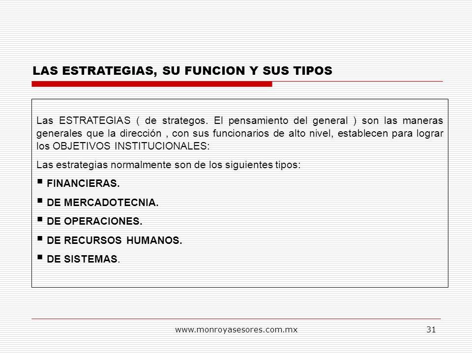 www.monroyasesores.com.mx31 LAS ESTRATEGIAS, SU FUNCION Y SUS TIPOS Las ESTRATEGIAS ( de strategos. El pensamiento del general ) son las maneras gener