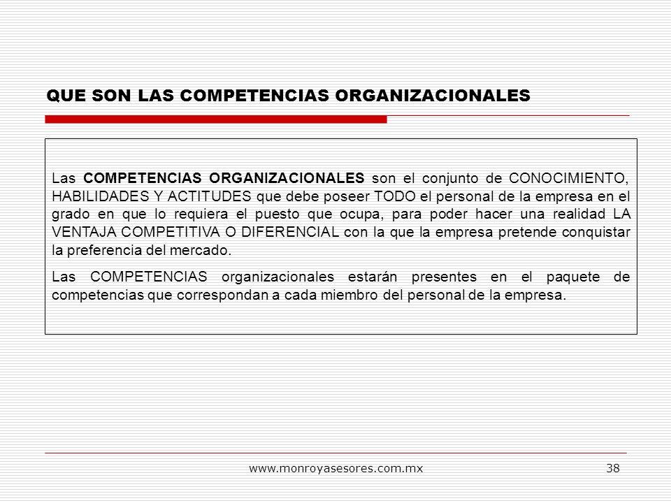 www.monroyasesores.com.mx38 QUE SON LAS COMPETENCIAS ORGANIZACIONALES Las COMPETENCIAS ORGANIZACIONALES son el conjunto de CONOCIMIENTO, HABILIDADES Y