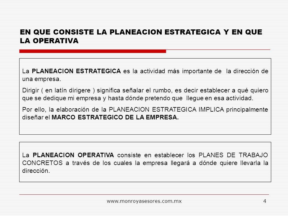 www.monroyasesores.com.mx4 EN QUE CONSISTE LA PLANEACION ESTRATEGICA Y EN QUE LA OPERATIVA La PLANEACION ESTRATEGICA es la actividad más importante de
