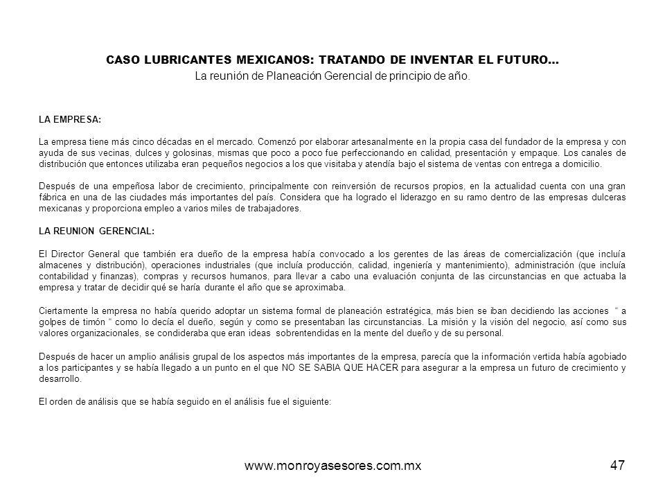 www.monroyasesores.com.mx47 CASO LUBRICANTES MEXICANOS: TRATANDO DE INVENTAR EL FUTURO… La reunión de Planeación Gerencial de principio de año. LA EMP