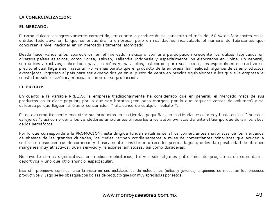 www.monroyasesores.com.mx49 LA COMERCIALIZACION: EL MERCADO: El ramo dulcero es agresivamente competido, en cuanto a producción se concentra el más de