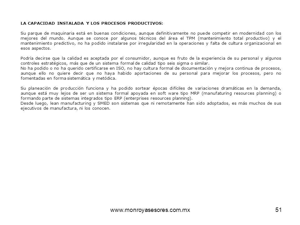 www.monroyasesores.com.mx51 LA CAPACIDAD INSTALADA Y LOS PROCESOS PRODUCTIVOS: Su parque de maquinaria está en buenas condiciones, aunque definitivame
