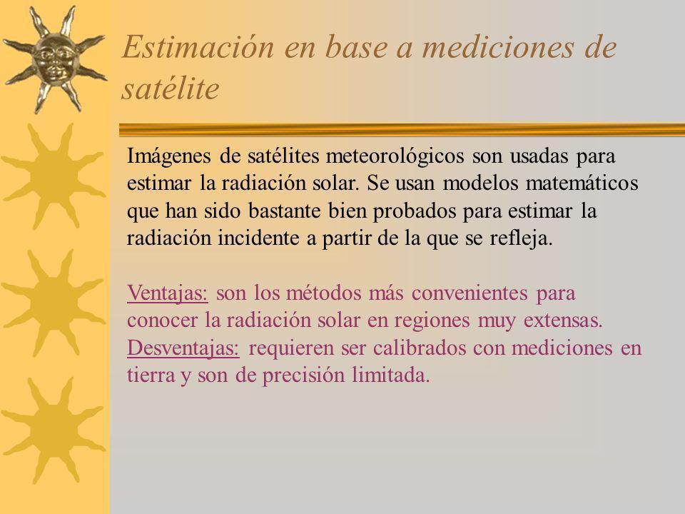 Estimación en base a mediciones de satélite Imágenes de satélites meteorológicos son usadas para estimar la radiación solar. Se usan modelos matemátic
