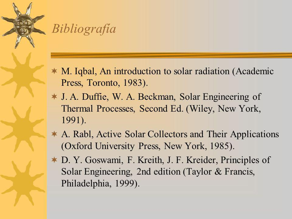 Bibliografía M. Iqbal, An introduction to solar radiation (Academic Press, Toronto, 1983). J. A. Duffie, W. A. Beckman, Solar Engineering of Thermal P