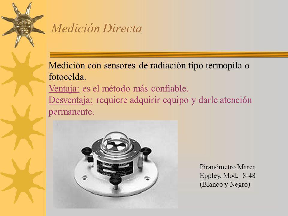Medición Directa Piranómetro Marca Eppley, Mod. 8-48 (Blanco y Negro) Medición con sensores de radiación tipo termopila o fotocelda. Ventaja: es el mé