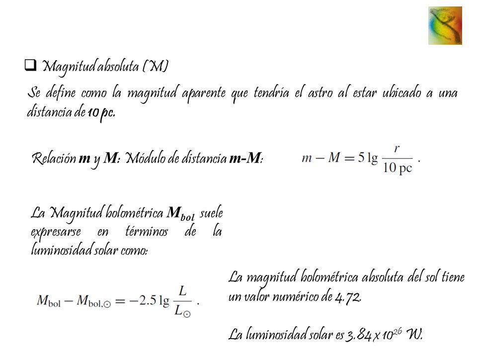 Magnitud absoluta (M) Se define como la magnitud aparente que tendría el astro al estar ubicado a una distancia de 10 pc. Relación m y M : Módulo de d